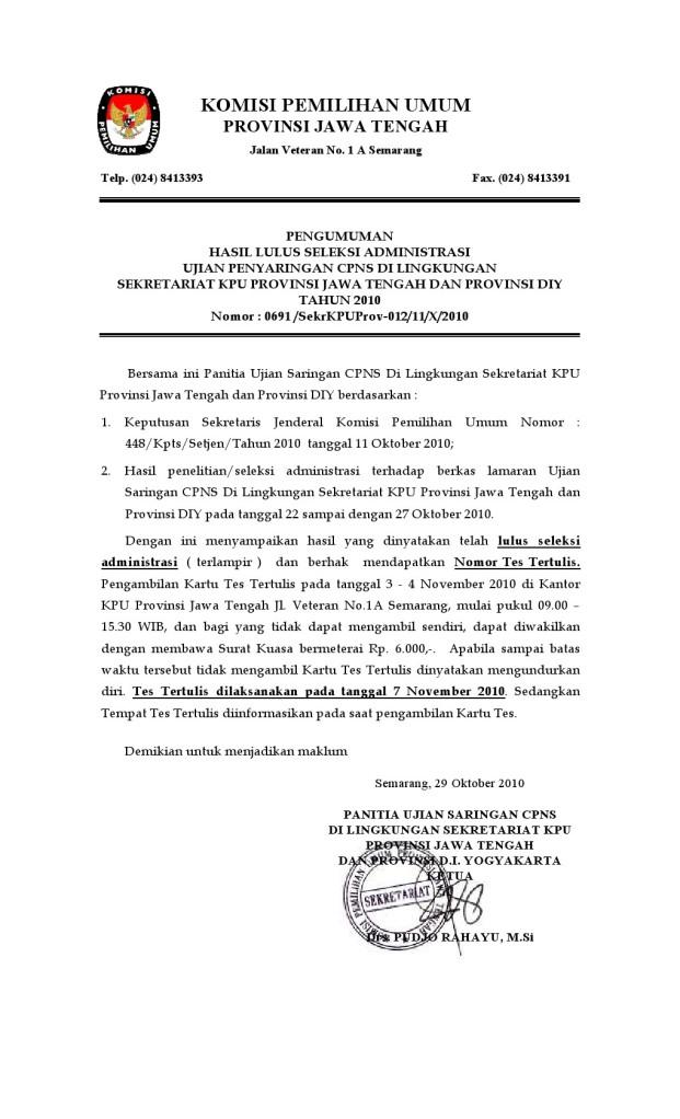 Pengumuman Hasil Seleksi Administrasi Cpns Kota   Paundra com
